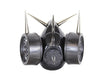 "Black Dual Respirator Gas Mask with 2"" Spikes Goth Cyber Cosplay"