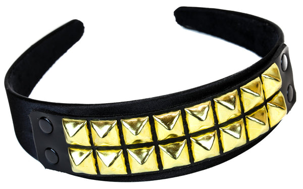 2 Row Brass Pyramid Stud Hair Headband Hairpiece Alternative Clothing Punk Rockabilly