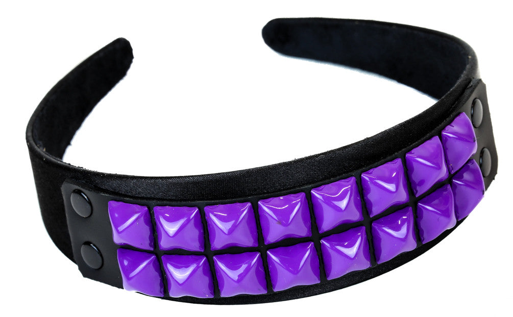 2 Row Purple Pyramid Stud Hair Headband Hairpiece Alternative Clothing Punk Rockabilly