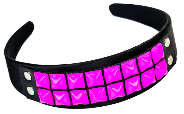 2 Row Hot Pink Pyramid Stud Hair Headband Hairpiece Alternative Clothing Punk Rockabilly