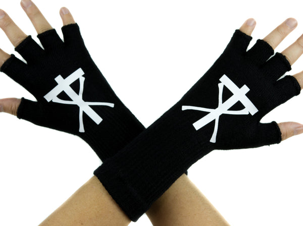 Christian Death Black Fingerless Gloves Arm Warmers Alternative Valor