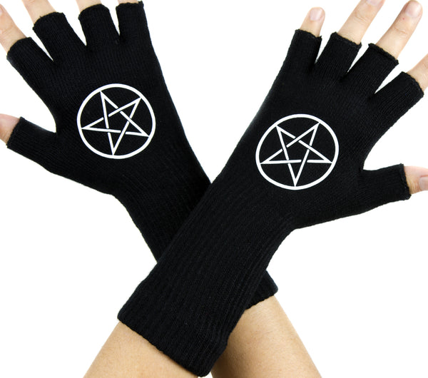 Woven Pentagram Black Fingerless Gloves Arm Warmers Alternative