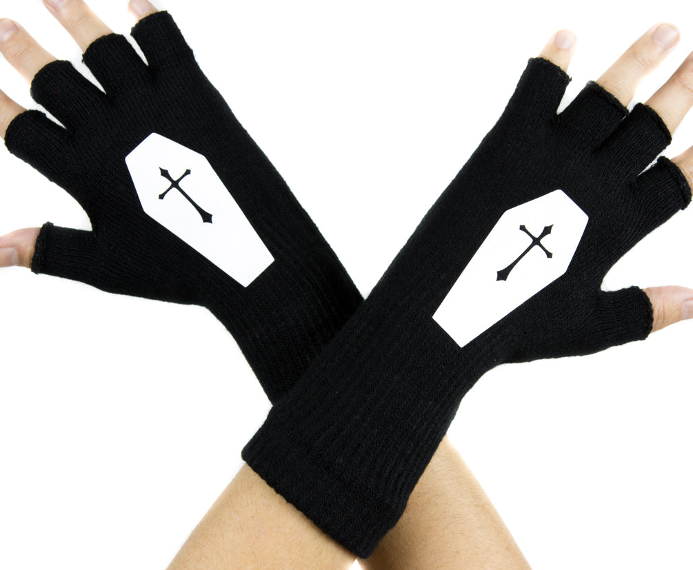 Voodoo Coffin with Cross Black Fingerless Gloves Arm Warmers Alternative Casket
