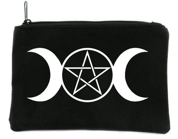 Triple Goddess Moon Wicca Pentacle Cosmetic Makeup Bag Pouch Alternative Accessories