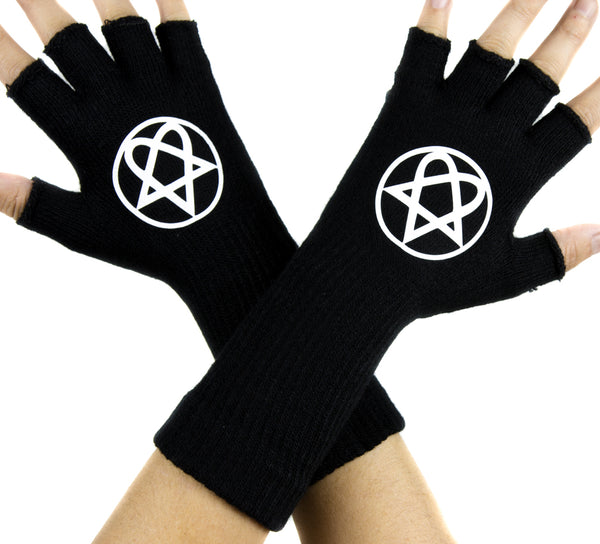 HIM Heartagram Black Fingerless Gloves Arm Warmers Alternative Ville Valo