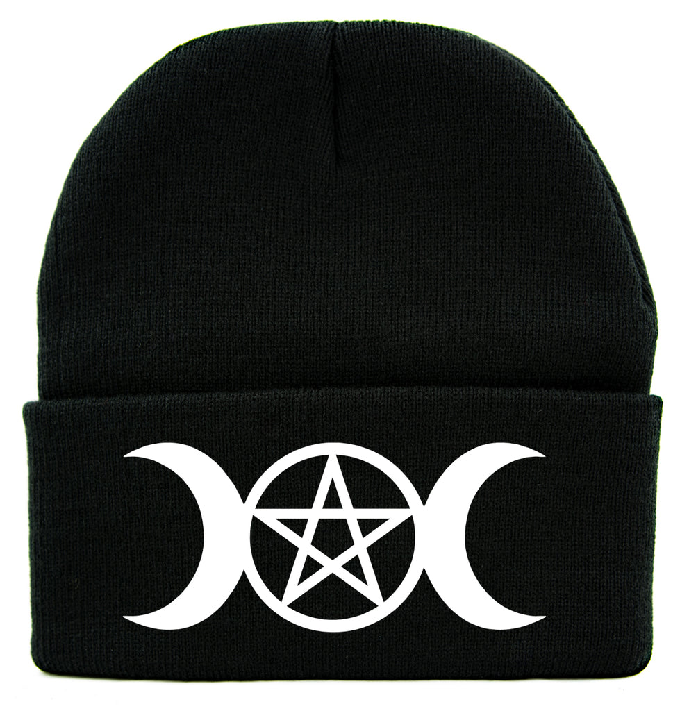White Triple Moon Goddess Wicca Pentagram Cuff Beanie Knit Cap Pagan Three Witchcraft
