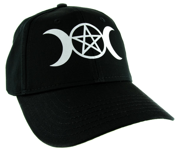 White Triple Moon Goddess Wicca Pentagram Baseball Cap Pagan Three Witchcraft