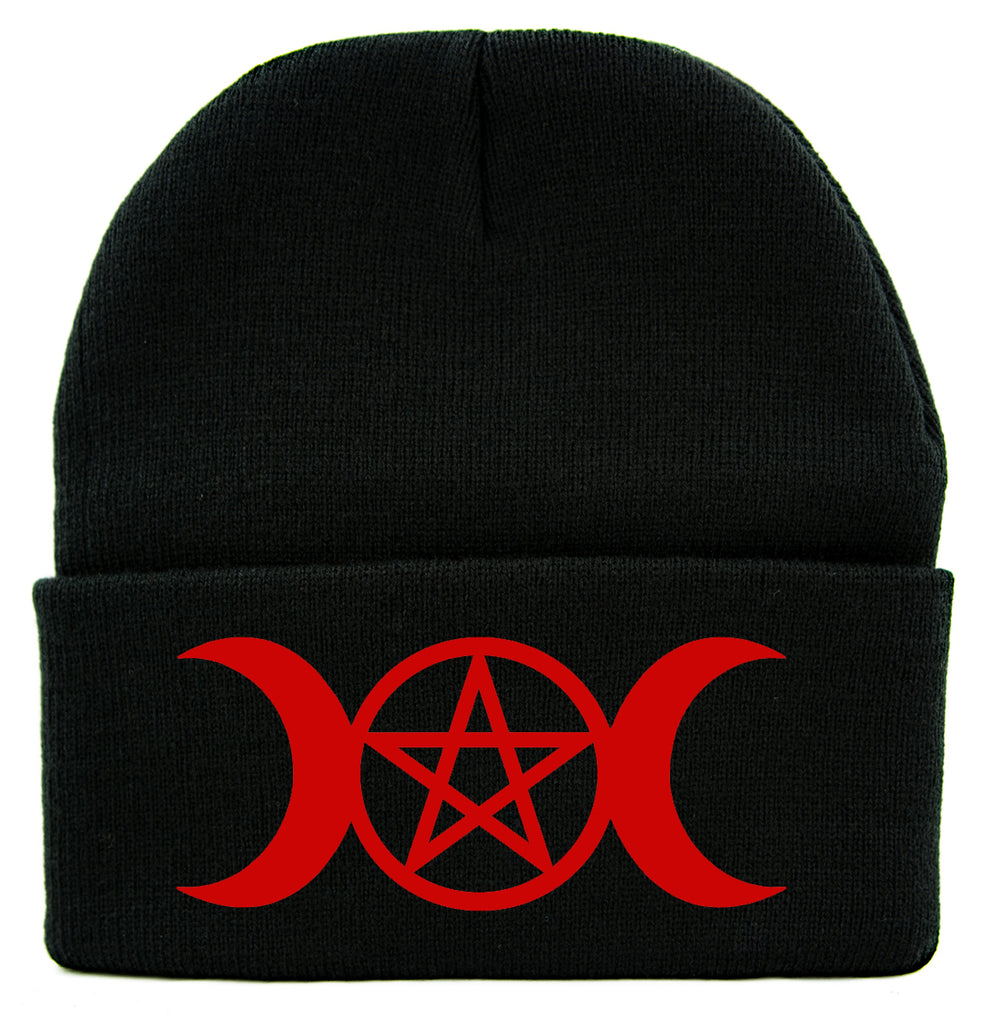 Red Triple Moon Goddess Wicca Pentagram Cuff Beanie Knit Cap Pagan Three Witchcraft