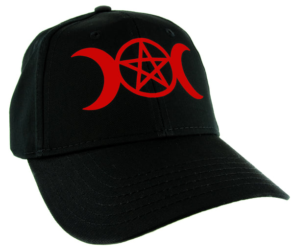 Red Triple Moon Goddess Wicca Pentagram Baseball Cap Pagan Three Witchcraft