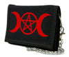 Red Triple Moon Goddess Wicca Pentagram Tri-fold Wallet Pagan Three Witchcraft