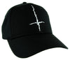 White Inverted Cross Hat Baseball Cap Black Metal Occult
