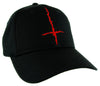 Red Thorn Jagged Inverted Cross Hat Baseball Cap Black Metal Occult