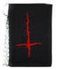 Red Thorn Jagged Inverted Cross Tri-fold Wallet Black Metal Occult