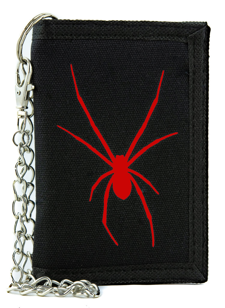 Red Print Black Widow Spider Tri-fold Wallet Goth Punk