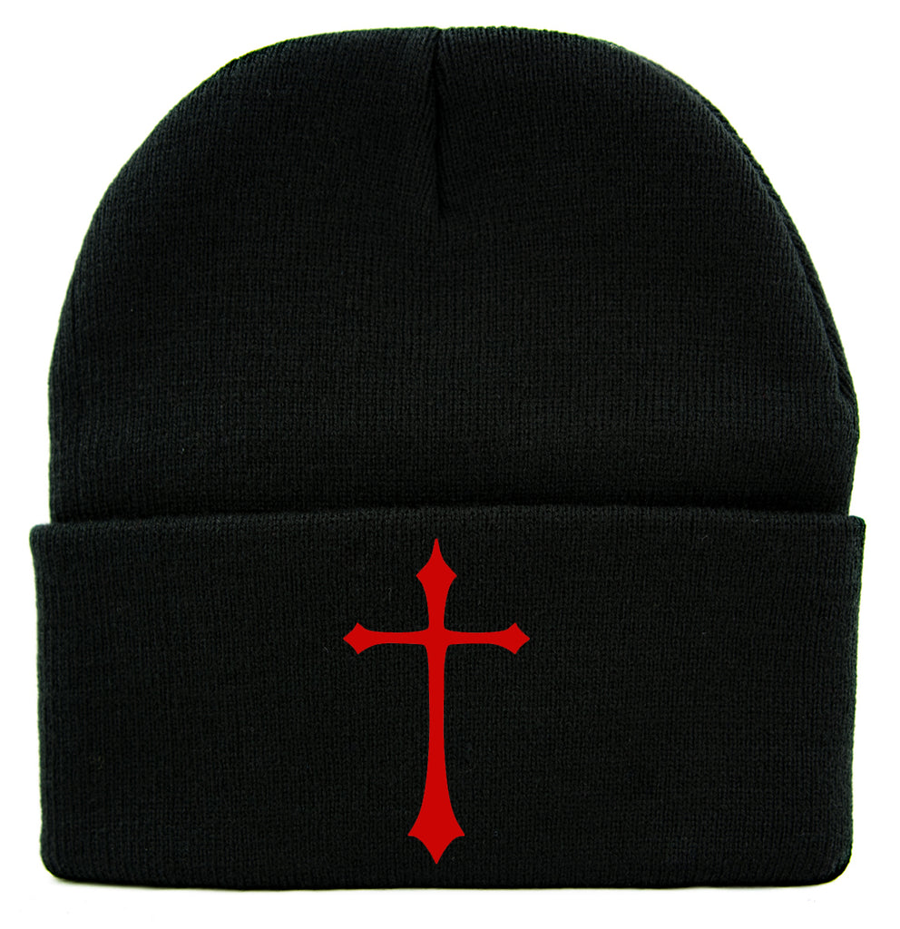 Red Medieval Holy Gothic Cross Cuff Beanie Knit Cap