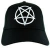 White Inverted Pentagram Hat Baseball Cap Black Metal Occult