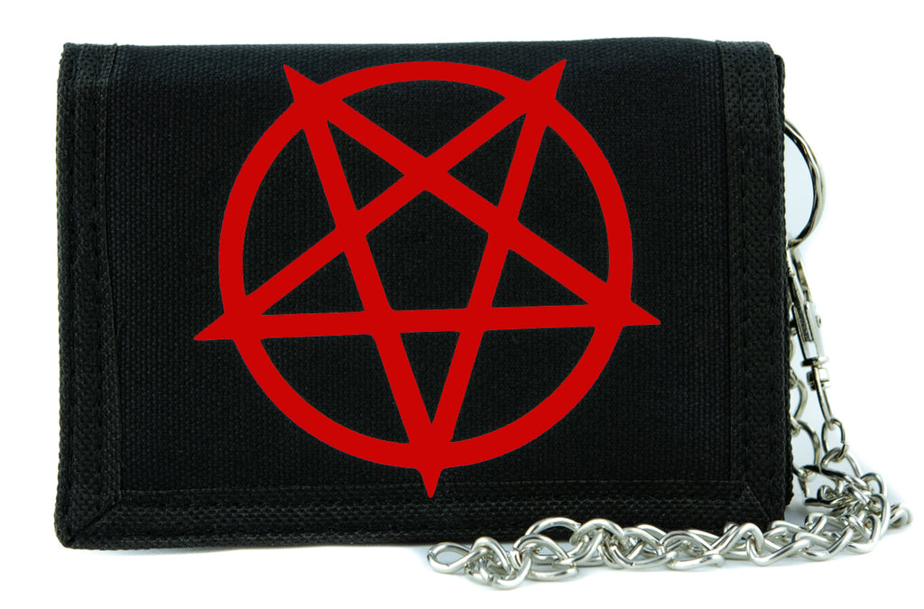 Red Inverted Pentagram Tri-fold Wallet  Metal Occult