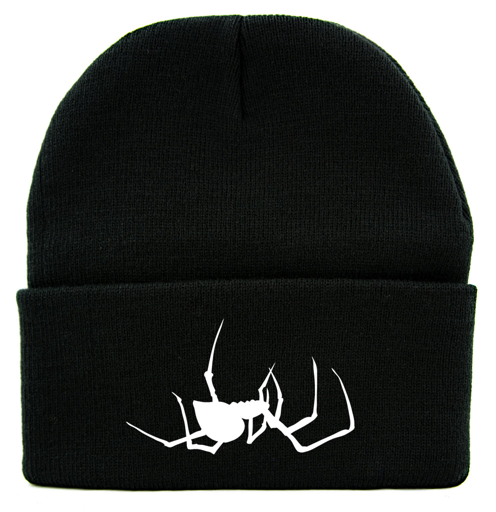 White Spooky Crawling Black Widow Spider Cuff Beanie Knit Cap Halloween
