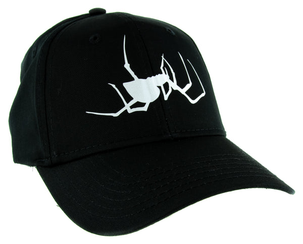 White Spooky Crawling Black Widow Spider Hat Baseball Cap Halloween