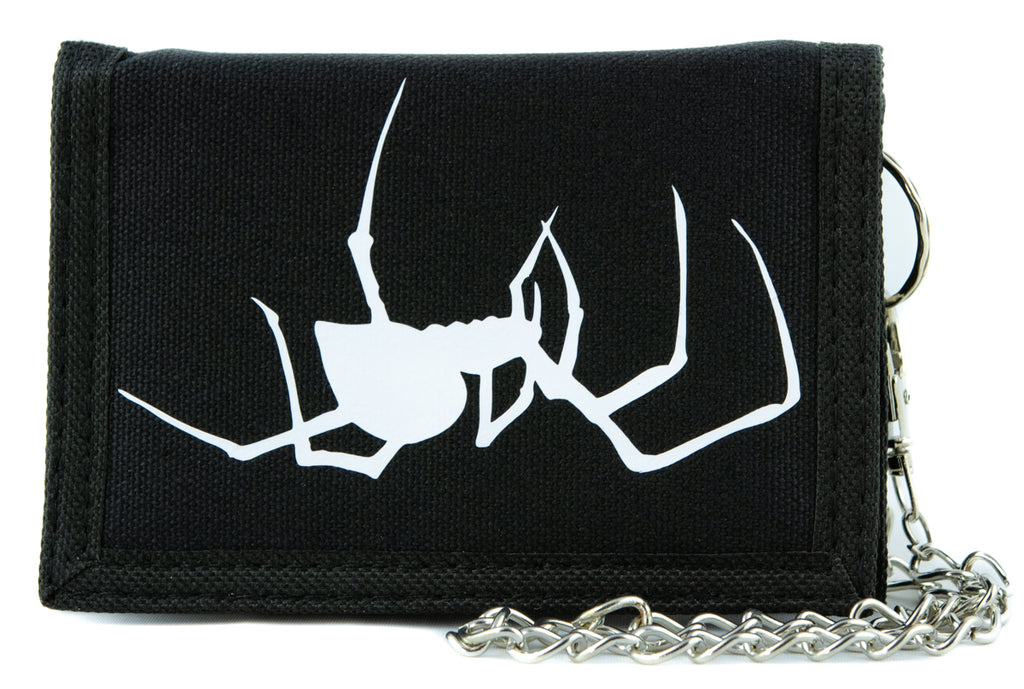 White Spooky Crawling Black Widow Spider Tri-fold Wallet Halloween