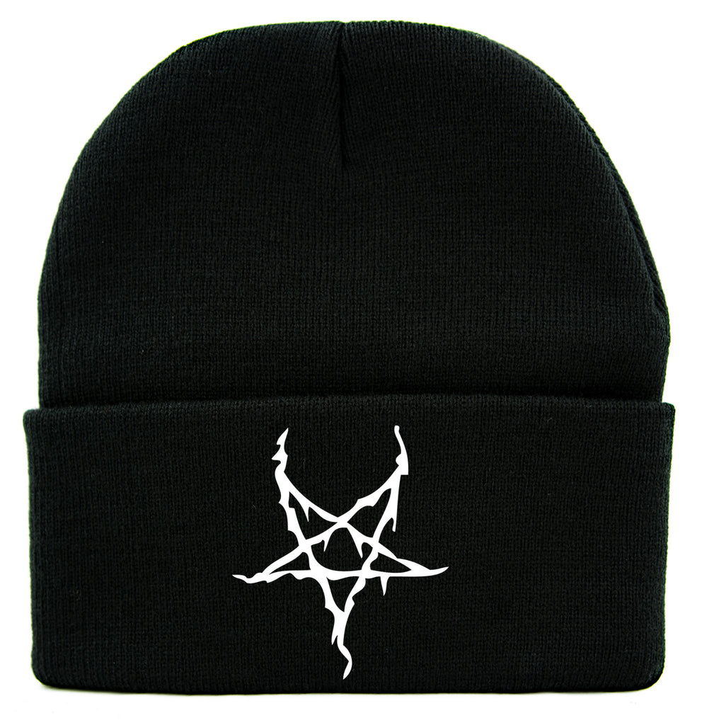 White Black Metal Style Inverted Pentagram Cuff Beanie Knit Cap Occult