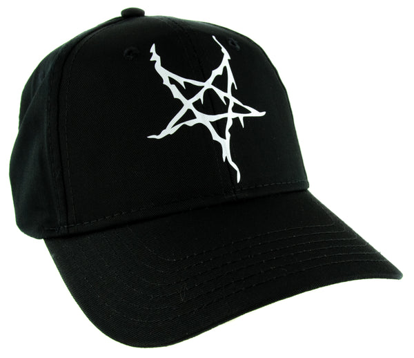 White Black Metal Style Inverted Pentagram Hat Baseball Cap Occult