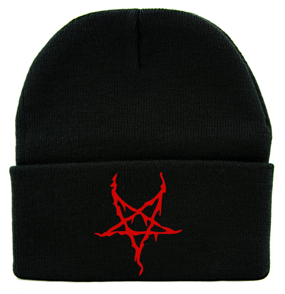 Red Black Metal Style Inverted Pentagram Cuff Beanie Knit Cap Occult