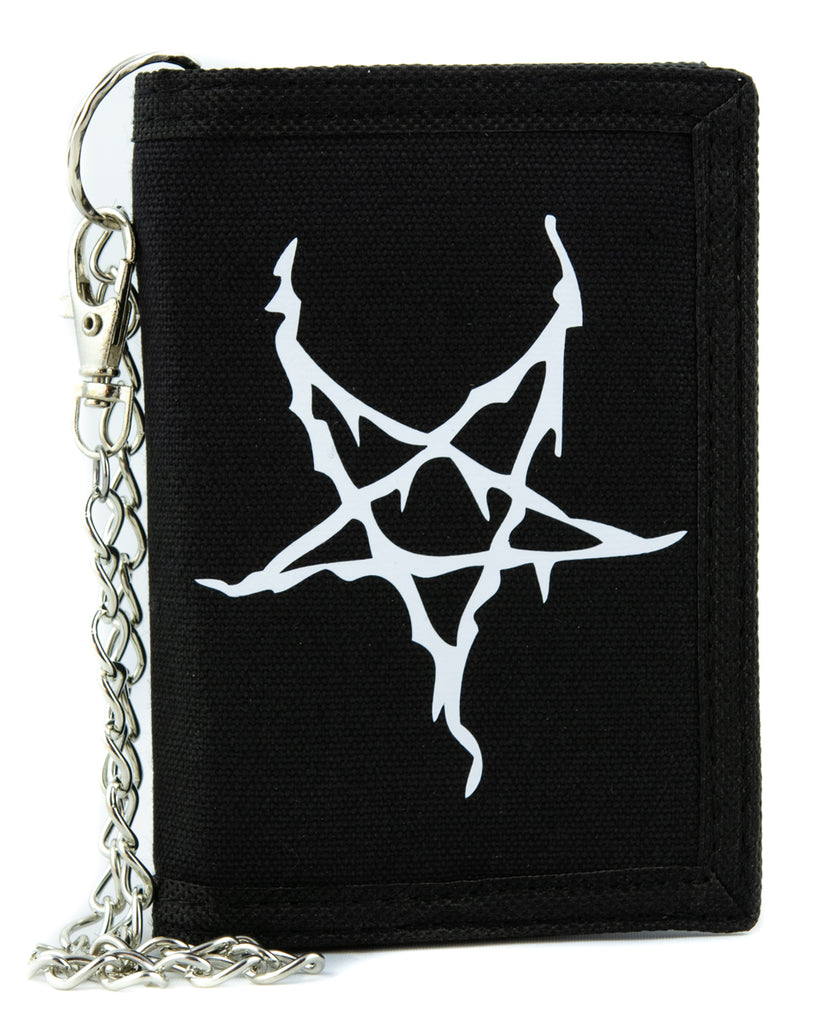 White Black Metal Style Inverted Pentagram Tri-fold Wallet Occult