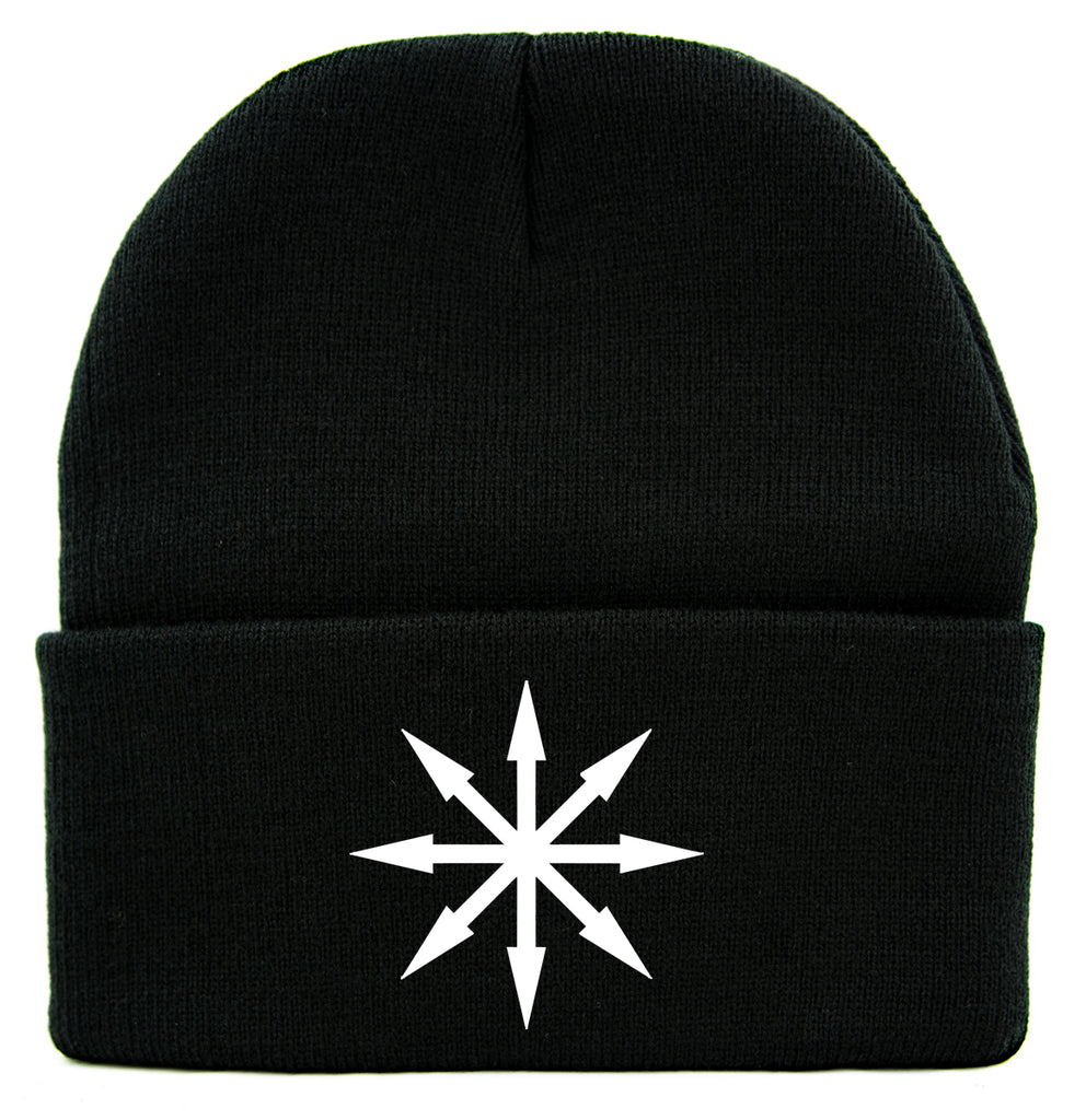 White Chaos Star Symbol of Eight Arrows Cuff Beanie Knit Cap Occult