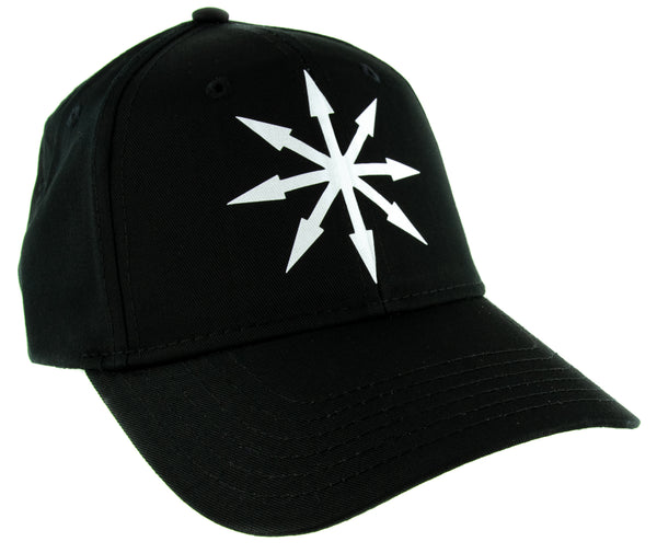 White Chaos Star Symbol of Eight Arrows Hat Baseball Cap Black Metal Occult