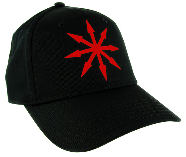 Red Chaos Star Symbol of Eight Arrows Hat Baseball Cap Black Metal Occult