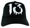White Number Thirteen Lucky 13 Baseball Cap Goth Punk