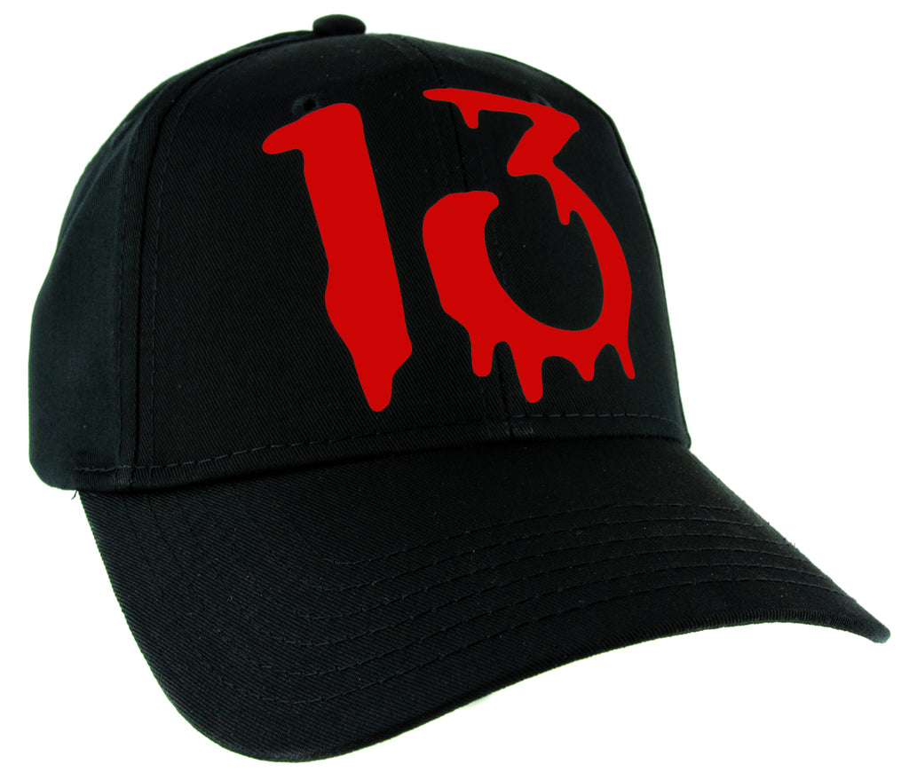 Red Number Thirteen Lucky 13 Baseball Cap Goth Punk