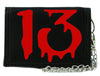 Red Number Thirteen Lucky 13 Tri-fold Wallet Goth Punk