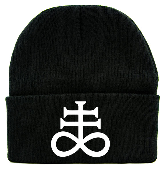 White Crux Satanus Leviathan Cross Cuff Beanie Knit Cap Occult