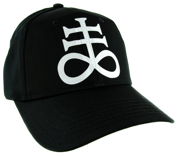 White Crux Satanus Leviathan Satanic Cross Baseball Cap Occult