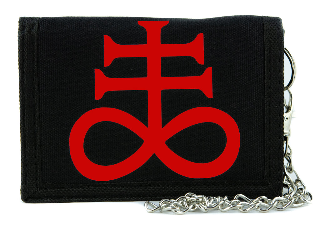 Red Crux Satanus Leviathan Satanic Cross Tri-fold Wallet Occult