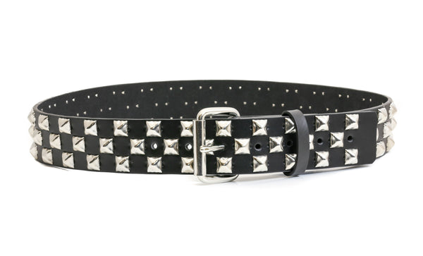 3 Row Silver Pyramid Stud Checkered Black Leather Belt Sarah Jessica Parker Inspired Sex and the City