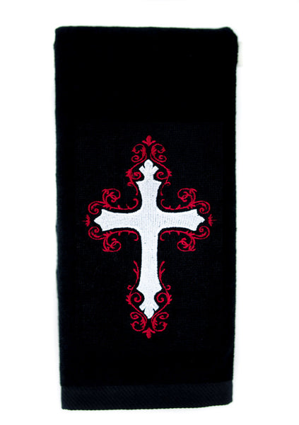 Elegant Holy Cross Embroidered Hand Towel Kitchen and Bath Gothic Home Decor
