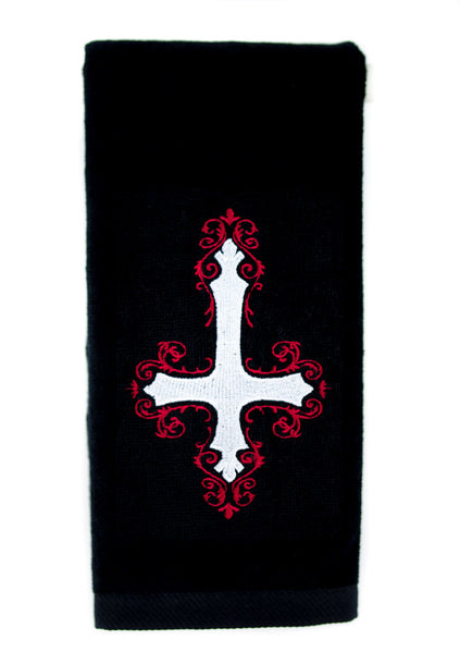 Elegant Inverted Unholy Cross Embroidered Hand Towel Kitchen and Bath Gothic Home Decor