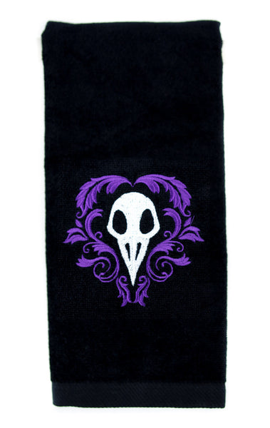 Death Raven Bird Skull Halloween Hand Towel Kitchen and Bath Gothic Home Decor