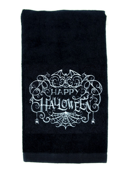 Happy Halloween Spider Web Bats Hand Towel Kitchen and Bath Gothic Home Decor