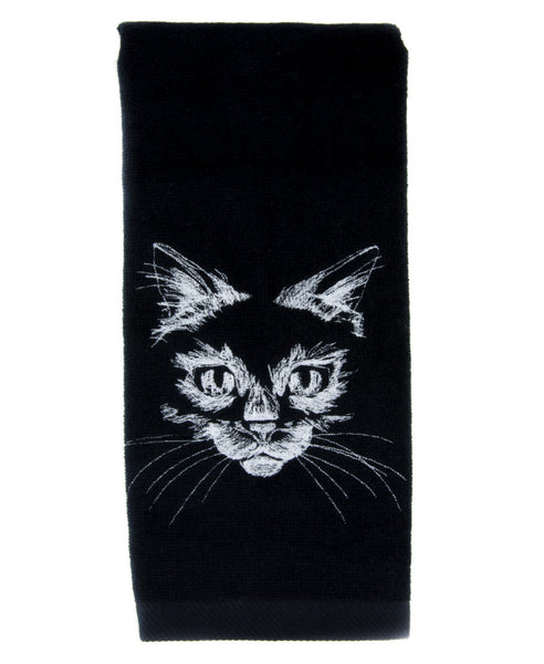 Black Kitty Cat Halloween Hand Towel Embroidered Kitchen and Bath Gothic Home Decor