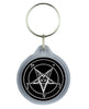 Classic Pure Evil White Baphomet Pentagram Keychain Occult Key Ring
