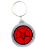Church of Satan Red Baphomet Pentagram Keychain Occult Key Ring
