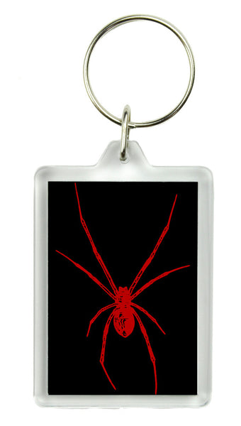 Red Print Black Widow Spider Keychain Gothic Deathrock Key Ring
