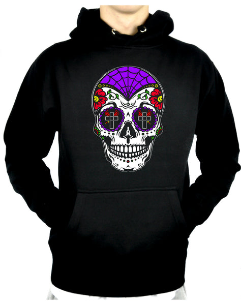 "Sugar Skull Calavera Pullover Hoodie Sweatshirt ""Dia De Los Muertos"" Day of the Dead"