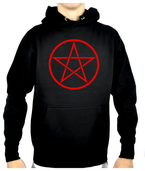 Red Woven Pentacle Pullover Hoodie Sweatshirt