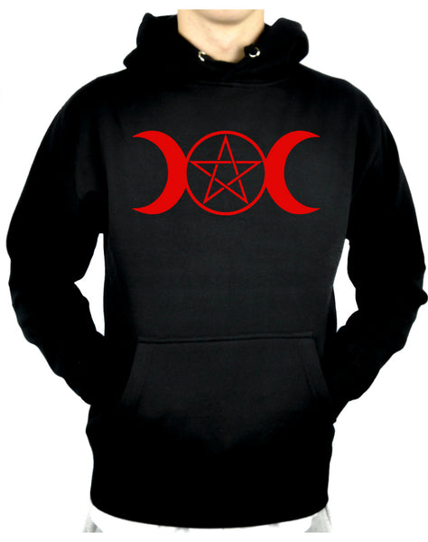 Red Triple Moon Goddess Pentagram Pullover Hoodie Sweatshirt