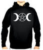 White Triple Moon Goddess Pentagram Pullover Hoodie Sweatshirt